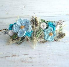 Turquoise Hair Barrette Crochet Flowers by meekssandygirl, via Flickr
