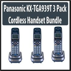 Panasonic KX-TGA939T DECT 6.0 Black Digital Cordless 3 Pack for TG9390 Series Phones by Panasonic. $194.85. This Panasonic wireless phone features the latest DECT 6.0 technology. This digital wireless phone comes in a set of three handsets in a stylish and ergonomic design. Connectivity: Wireless Color: Black Multi handset capability: Yes Number of phone lines: 2 Frequency: 1.9 GHz Battery: Ni-MH (AAA x 2) Battery life (talk): 12 hours Battery life (standby): 6 days LCD back...