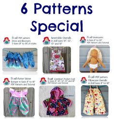 6 patterns Special - Get them all at once! Doll Clothes Patterns, Clothing Patterns, Waldorf Dolls, Pdf Patterns, Vegan Friendly, Flutter Sleeve, Baby Toys, Overalls, Rompers