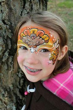 Turkey thanksgiving face painting design #Snazaroo #Thanksgiving #facepaint