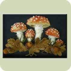 Stumpwork / Raised Embroidery - Intermediate Stumpwork Designs - Mushrooms and Acorns