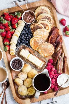 Charcuterie Platter, Charcuterie And Cheese Board, Tasty Pancakes, Breakfast Pancakes, Fluffy Pancakes, Breakfast Casserole, Bacon Breakfast, Breakfast Platter, Breakfast For Dinner