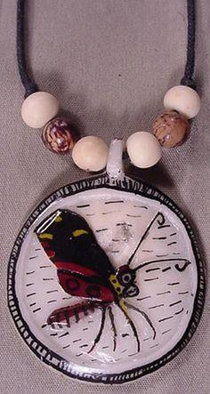 Wounaan Indian Tagua Butterfly Pendant-Panama 3.47286