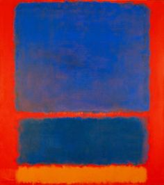 Mark Rothko, , 1961.Again the underlying colours blue orange red but he Allways paints the secondary' and tertiary's of those colours mixed in