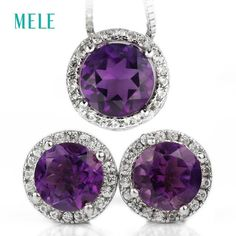 Natural Amethyst Silver Jewelry Set Pendant Earring Round Pendant Round Earring
