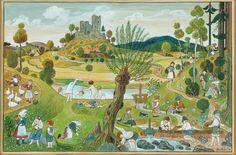 Josef Lada, Letní dětské hry, 1937 Naive Art, Illustration Art, Illustration Children, Countryside, Drawings, Classic, Summer, Painting, Children Books