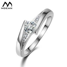 MDEAN White Gold Color Round AAA Zircon Wedding Rings  Charm Brilliant Jewelry for Women Bijoux Accessories Bague MSR005 #Affiliate