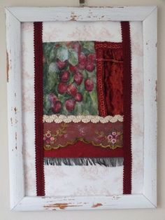 FRENCH SHABBY CHIC STYLE ORIGINAL UNIQUE COLLAGE ART PICTURE FRAMED RED PLUMS