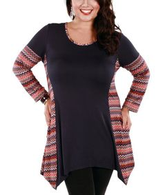 Another great find on #zulily! Purple & Pink Zigzag Sidetail Tunic - Plus by Aster #zulilyfinds