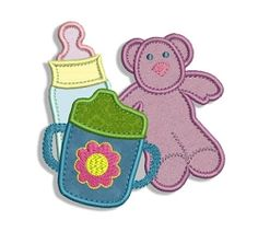Sippy Cup, Baby Bottle and Bear Applique - 3 Sizes! | Baby | Machine Embroidery Designs | SWAKembroidery.com Fancy Fonts Embroidery