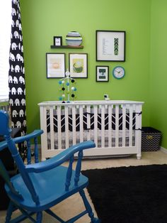 Black, White, and Green. #baby #nursery #green