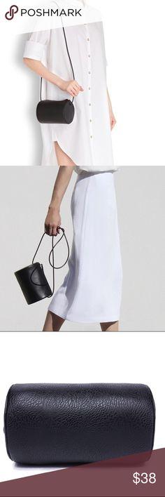 Black Leather Buildin Block Cylinder Crossbody Bag ❤️Chic Black Polyurethane Leather Building Block Cylinder Crossbody Shoulder Bag With Folded Fringe Pull Tab Tassel❤️ Bags
