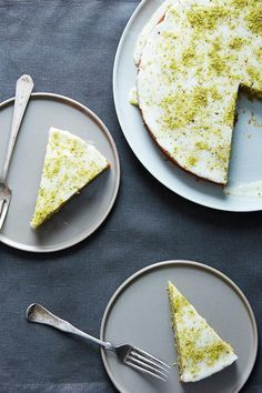 Here's a dessert for those folks who are unmoved by standard chocolate and vanilla cakes: an unusual combination of pistachio, cardamom, rosewater, and lemon — topped with Meyer lemon frosting.