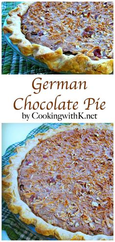 German Chocolate Pie, {Granny's Recipe}  All the flavors of a traditional German Chocolate Cake.   Creamy and dreamy chocolate goodness!  www.CookingwithK.net