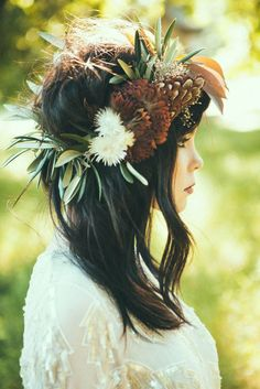"Wild and Overgrown Bridal Editorial PoppyStone! Cool combination of flowers and feathers, and I like the ""headband"" effect."