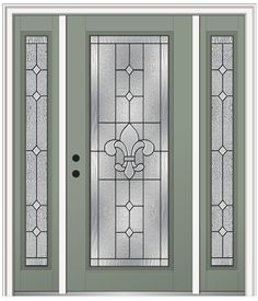 Shown is a Carrollton Full Lite Entry Door Painted Sage Green with Sidelites. Visit DoorBuy.com to view our entire Carrollton Collection!