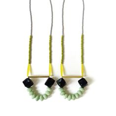 Pistaccio, Yellow, Black & Mint Green Beaded Long Necklace Brass Tube Strand Necklace Pendant Necklace Colorful Chunky Necklace by jujujust on Etsy https://www.etsy.com/listing/195459932/pistaccio-yellow-black-mint-green-beaded