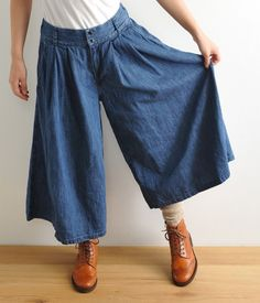 Gorgeous indigo trousers, pleated into a wide waist-band