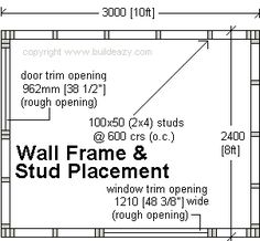 shed wall-frame and stud placement detail