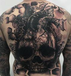 Photo by (punkotattooartist) on Instagram | #justjesstattoos #rideinktattoo #tattooartist #tattoo #tattooexpo #ink #tattoos #collaboration #collaborationtattoo #backtattoo #backpiecetattoo #skull #skulltattoo #heart #hearttattoo #teameffort