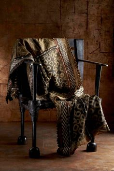 Ethiopian chair with Kuba cloth