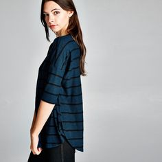 Loose Fit, Ultra Soft Fuzzy Stripe Top