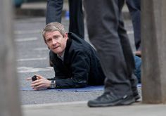 Martin Freeman as John Watson (I think this is one of the cutest SetLock photos ever, guys. Martin Freeman, Benedict Cumberbatch, John Watson, Johnlock, Sherlock Holmes Bbc, Watson Sherlock, Jim Moriarty, Sherlock John, Mrs Hudson