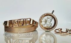 Rose gold, bracelets, lockets! Create your look