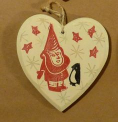 Happy Gnome and Penguin hand made unique winter Christmas ornament linocut on wood one of a kind decoration super cute folk art style by craftyhag on Etsy