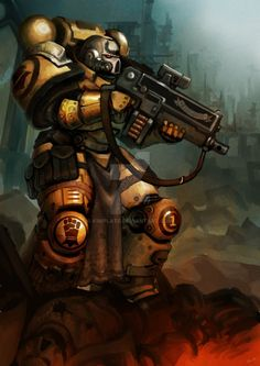allthingswarhammer:  Description: Imperial Fists Sternguard Veteran, Painted by kimplate Source: http://ift.tt/1Hto3QA on Painted 40k Date: November 10, 2015 at 09:13AM