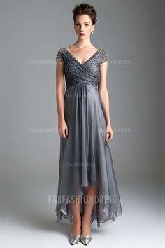 A-Line/Princess V-neck High Low Hem Ankle-length Tulle Mother of the Bride Dress