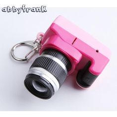 Abbyfrank Toy Camera Car Key Chain Kid Digital SLR Plastic Camera Toys LED Luminous Sound Keychain Bag Accessories Gift