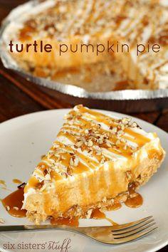 Turtle Pumpkin Pie by Six Sisters Stuff