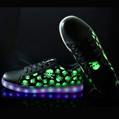 Love skulls? We got the right Frenzy shoes just for you. These glow in the dark from the top on the shoes and also have LED lights in the sole. Light em up! Features - The Skull Frenzy Shoes are lumin