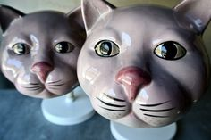 Creepy Ceramic PINK Cat Lamps  Alice in by ThEeRabbitHole on Etsy, $220.00