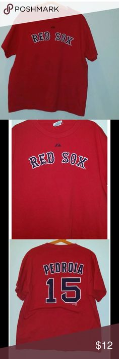 Boston red sox Dustin pedroia boys t-shirt Sz: L for sale is a youth, MLB, red, Boston Red Sox, short sleeve t-shirt.   Dustin Pedroia   Brand: Majestic   Please you the measurements below and make sure they are correct for you before placing a bid.   From under one arm to under the other measures approximately 17 inches   Going down the front, from the top of the shoulder to the bottom of the shirt measures approximately 21 inches   Going down the back, from the top of the shoulder to the…