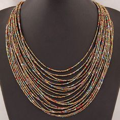 Bohemian Multi-Layer Beaded Long Necklace