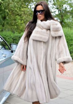 Beautiful mink! (My new fav!!!) NEW IVORY ROYAL MINK FUR LONG SWINGER COAT CLASS OF SABLE CHINCHILLA FOX JACKET