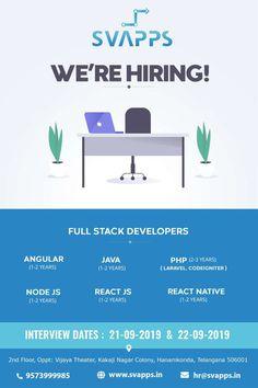Urgent hiring for PHP Full stack developers. React Native, App Development, Hyderabad, Mobile App, Digital Marketing, Software, Train, Teaching, Mobile Applications