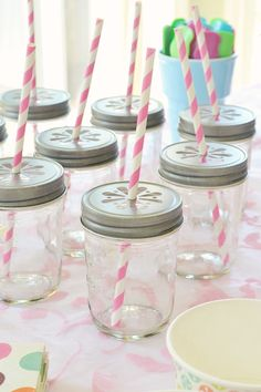 mason jar drink glasses with straws atthepicketfence.com