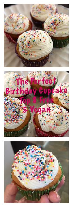 The perfect dairy-free, egg-free, nut-free, gluten-free, soy-free vegan birthday cupcake recipe!