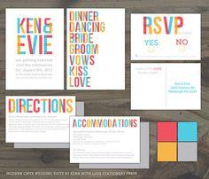 Printable Modern CMYK Wedding Invitation Suite