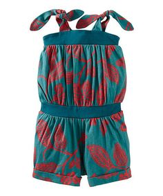 Take a look at this Peacock Durban Tie Romper - Toddler & Girls by Tea on #zulily today!