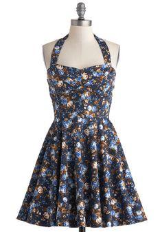 Traveling Cupcake Truck Dress in Navy Florals   Mod Retro Vintage Dresses   ModCloth.com