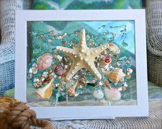 Beach Glass Art for Coastal Decor, Nautical Bathroom Decor, Starfish Art for Beach House Decorating, Wall Hanging for Coastal Decor by SeaSideCreations1 on Etsy