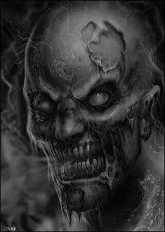 Realm Of Darkness Zombie Drawings, Dark Art Drawings, Horror Artwork, Skull Artwork, Evil Tattoos, Skull Tattoos, Evil Skull Tattoo, Zombie Tattoos, Zombies