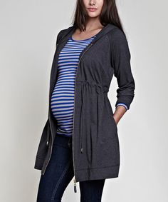 Dark Grey Melange Maternity Hoodie by Isabella Oliver on #zulily