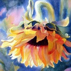 Watercolour sunflower