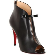CHRISTIAN LOUBOUTIN 100mm Coursive Shiny Calf Ankle Boots - Black ($1,125) ❤ liked on Polyvore featuring shoes, boots, ankle booties, christian louboutin, heels, scarpe, black, high heel bootie, black high heel booties and short black boots