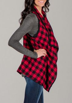 Red-Black Tartan Plaid Print Irregular Waterfall Low-High Casual Vest Coat